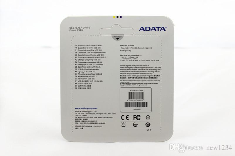 NEW ADATA C906 32GB USB 2.0 Flash Memory GIFT Pen Drive Stick Drives Sticks Pendrives Thumbdrive Disk