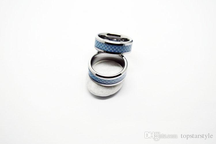 Tampón de fibra de carbono azul anillo de carburo de tungsteno de joyería de moda de 8 mm para hombres y mujeres