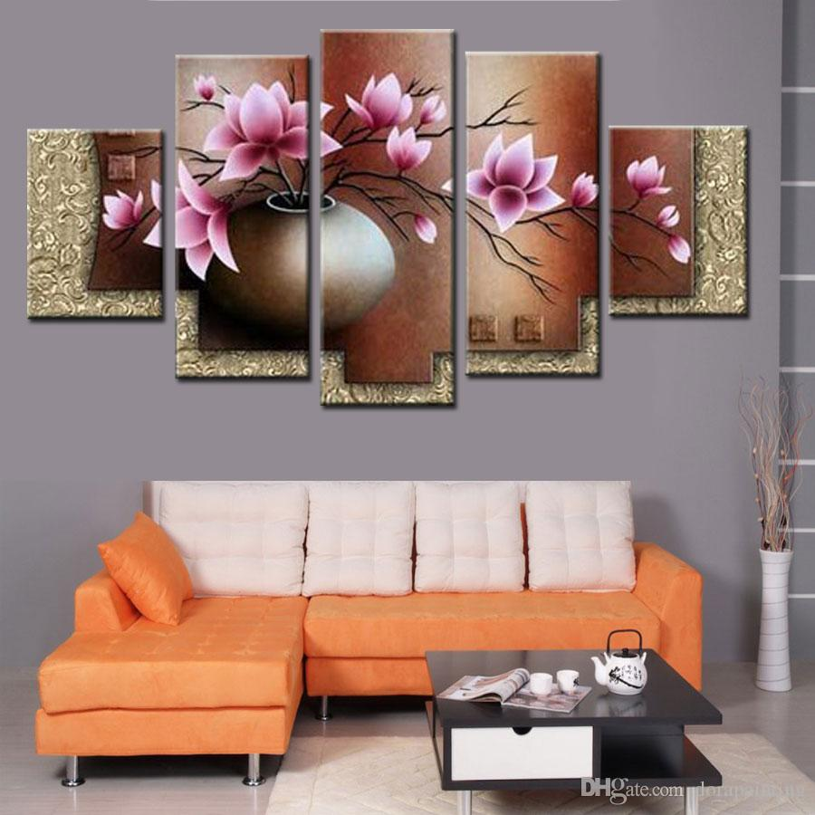 Wall Art Decor Picture Set Hand painted Modern Abstract Pink Flowers in Vase Oil Painting On Canvas Landscape Sale No Framed