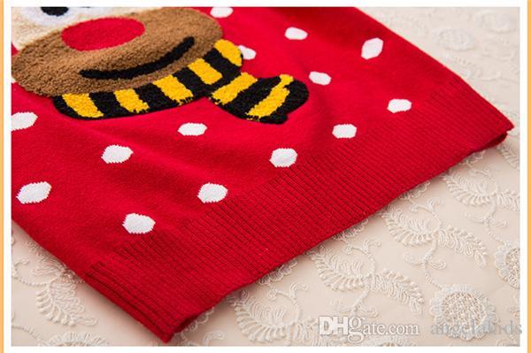 2015 Natal Elk Neve Algodão Vermelho Assentamento Quente Meninas Da Camisola Mais Duplo Tricô Sem Forro Vestuário Superior De Roupas Infantis