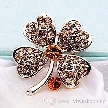 ! Top Qulity ! Gold Plated Mix Color Rhinestone Crystal Small Clover Leaf Flower Pin Brooch