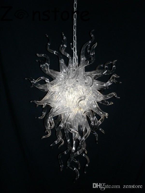 Art Angel Chandelier- Contemporary Очистить Длинные цепи Подвесной Малый лампы Европейский Стиль светодиодные ручной выдувное стекло Хрустальные люстры
