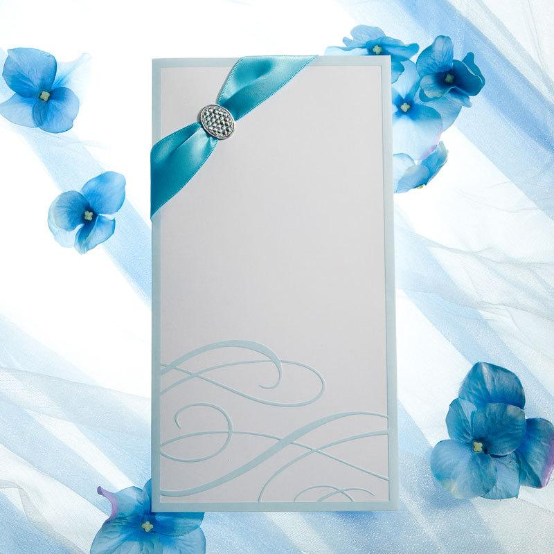 2015 Blue And White Wedding Invitation Card With Ribbon Buckle – Blue Wedding Invitation Cards