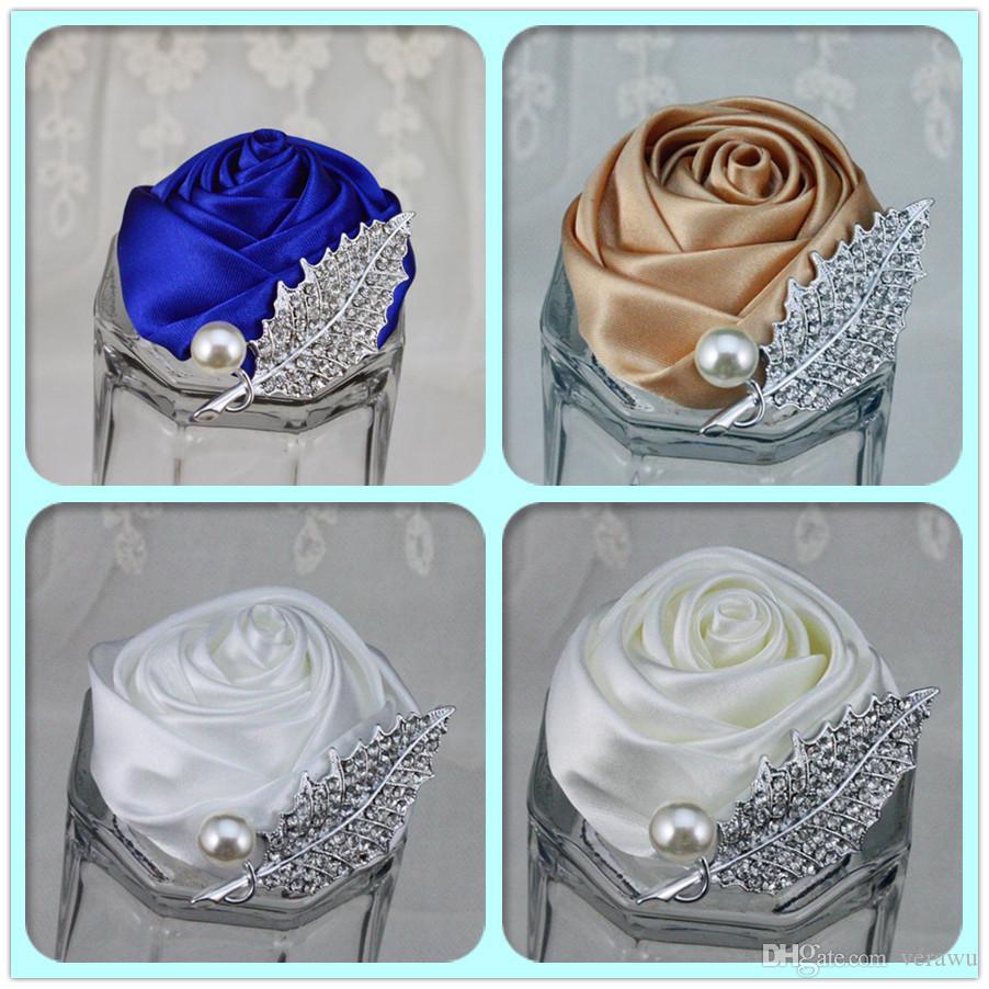 Cristais baratos noivo Corsages dama de honra casamento flor broche Acessórios Pérolas Satin Rose Corsage dama Corsage 12 cores podem escolher