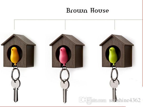 Miglior Hot Hot Nuovo Hot Bird Nest Sparrow House portachiavi a catena a parete Hook Holder Fischietto in plastica