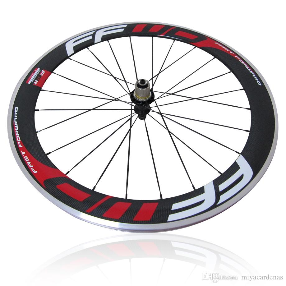 Red FFWD F6R 60mm Carbon Fiber Road Bike Alloy Brake Suface Wheelset F5R Carbon Aluminum Road Bicycle Wheels Clincher