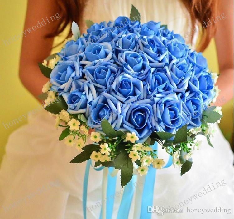 CHAUD! Beau bouquet de mariage parfait faveurs de mariage main de mariée tenant fleur artificielle fleurs parure en soie