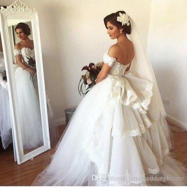 Elegant Ball Gown White Wedding Dresses 2015 Off the Shoulder Tiered Ruched Made in China High Quality Lace Applique Bridal Gowns