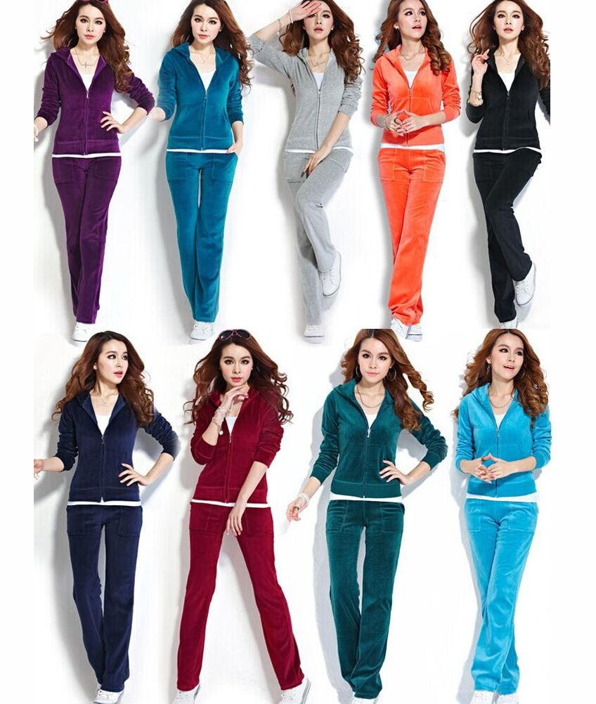 2019 Womens Velour Hoodie Pant Tracksuit Sport Yoga