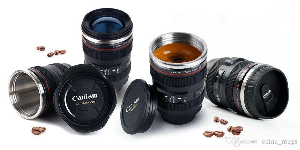 Hot Special Creative Camera Lens Shape self stirring Coffee Cup Tea Travel Mug Stainless Steel Vacuum Flasks Stirring stainless steel cup