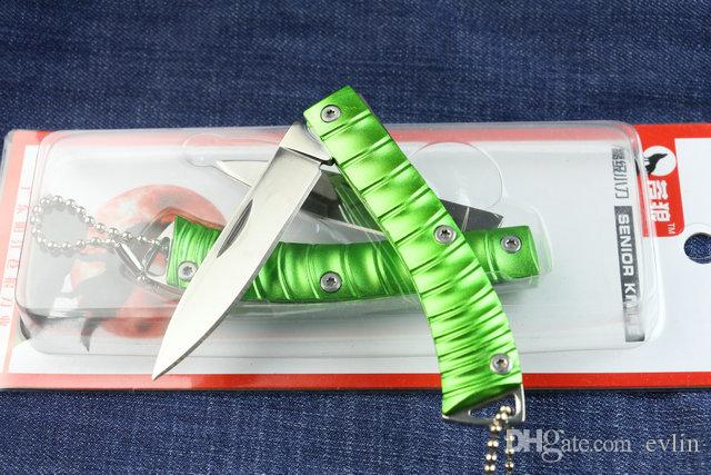 Drop shipping China Brand Wolf Small fold blade knife 440C 56HRC Mirror polish finish blade Key knife EDC pocket folding knives Green