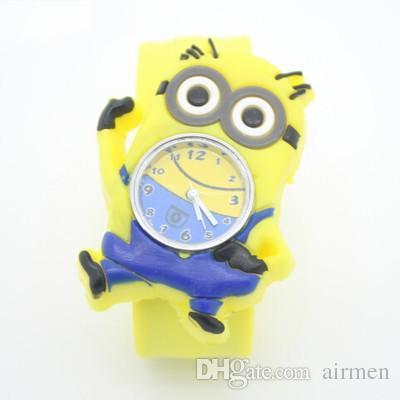 Silikon Slap Boy Mädchen Armbanduhr 2 Despicable Me Kids Yellow Minion Uhr Kinder 3D Cartoon Uhren DHL geben Verschiffen 2015 frei