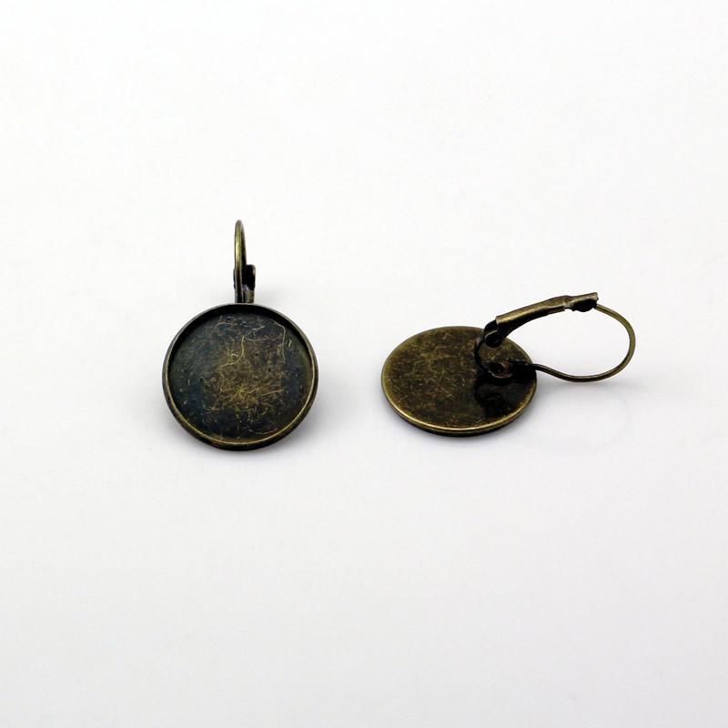 Beadsnice латунь серьги безель настройки leverback серьги кабошон установка ювелирных изделий поставки серьги выводы ID 6336