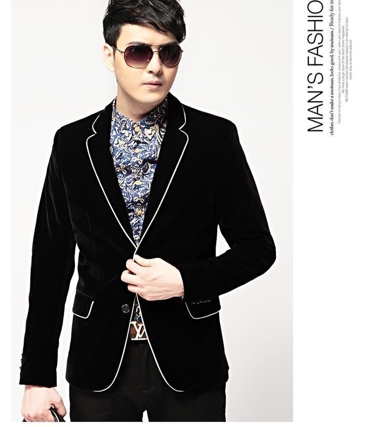 Online Cheap Wholesale Black Gold Velvet Blazers Mens Casual Man'S ...