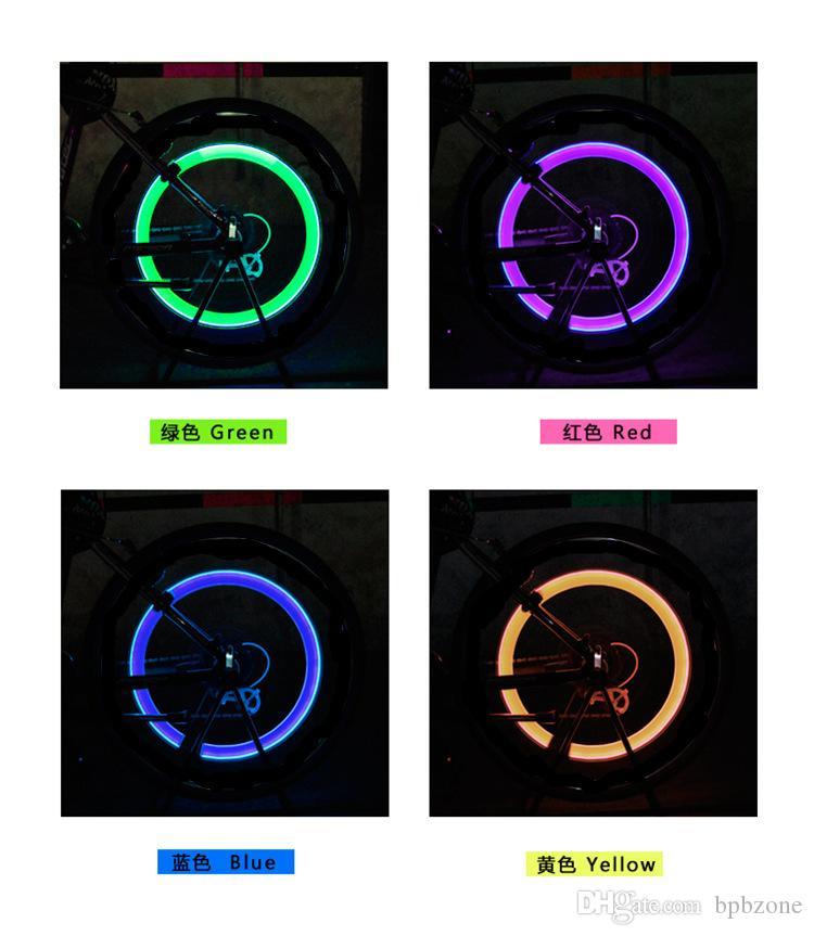 Fietswielverlichting Auto Fiets LED Flash Tire Light 5 Kleuren Wiel Valve Stamlamp Motorboog Wiellicht