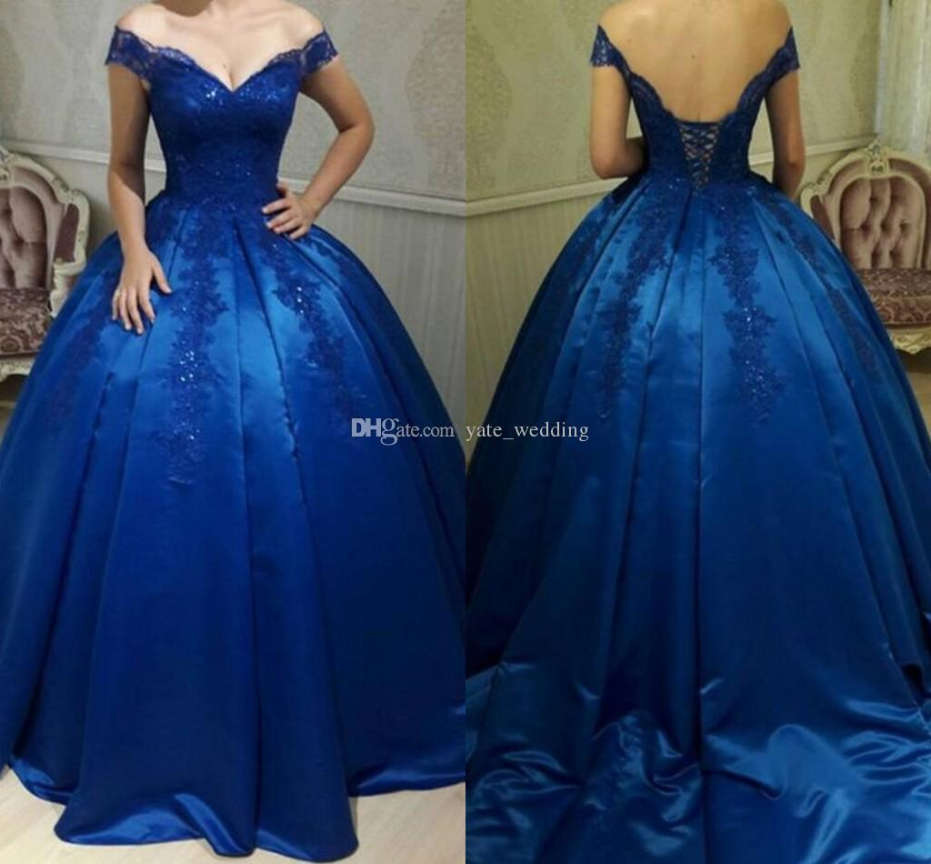 6edc81df056 Royal Blue Ball Gown Evening Dresses Off Shoulder Appliques Beaded Satin  Corset Backless Prom Dresses Quinceanera Dresses Sweet 16 Gowns Floor  Length ...