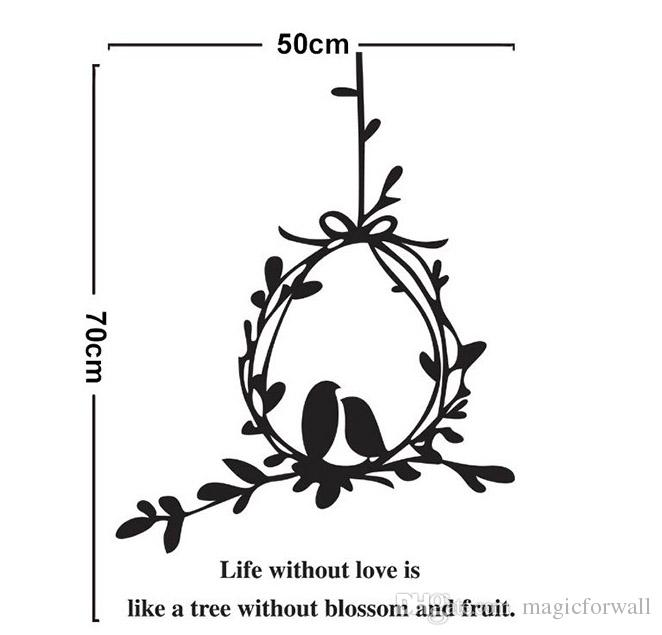 Tree Vines Birdcage Wall Art Mural Decal Sticker Wall Quote Decoration Poster --Life without Love is like a tree without Blossom and Fruit