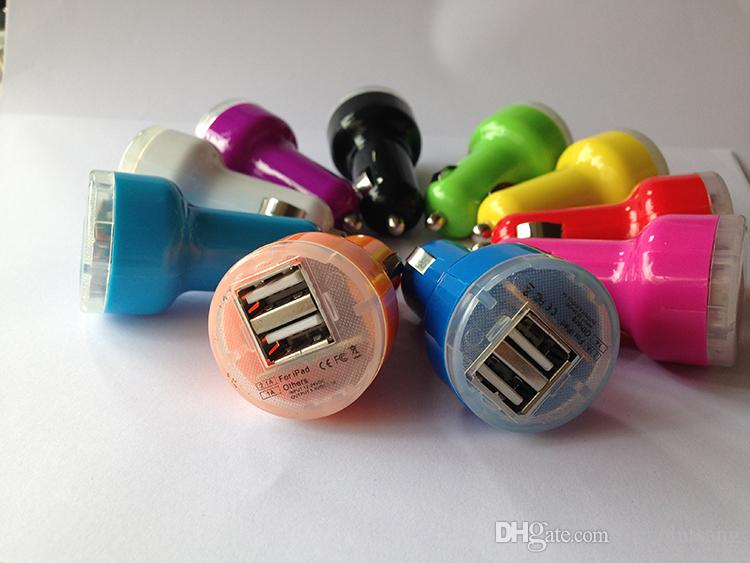 Wholesale Mini Micro Auto Universal Dual 2 Port USB Car Charger For iPhone 5 5S iPad Mini Galaxy S3 S4 Note2 MP3 Cell Phone