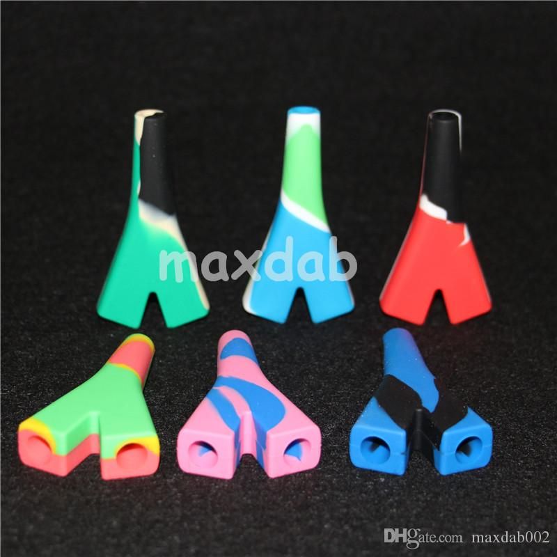 2 joint Silicone pipe smoking pipes Hand Glass Bowl Spoon Pipe Hookah Bongs multi Colors silicone oil dab rigs silicone nectar collector