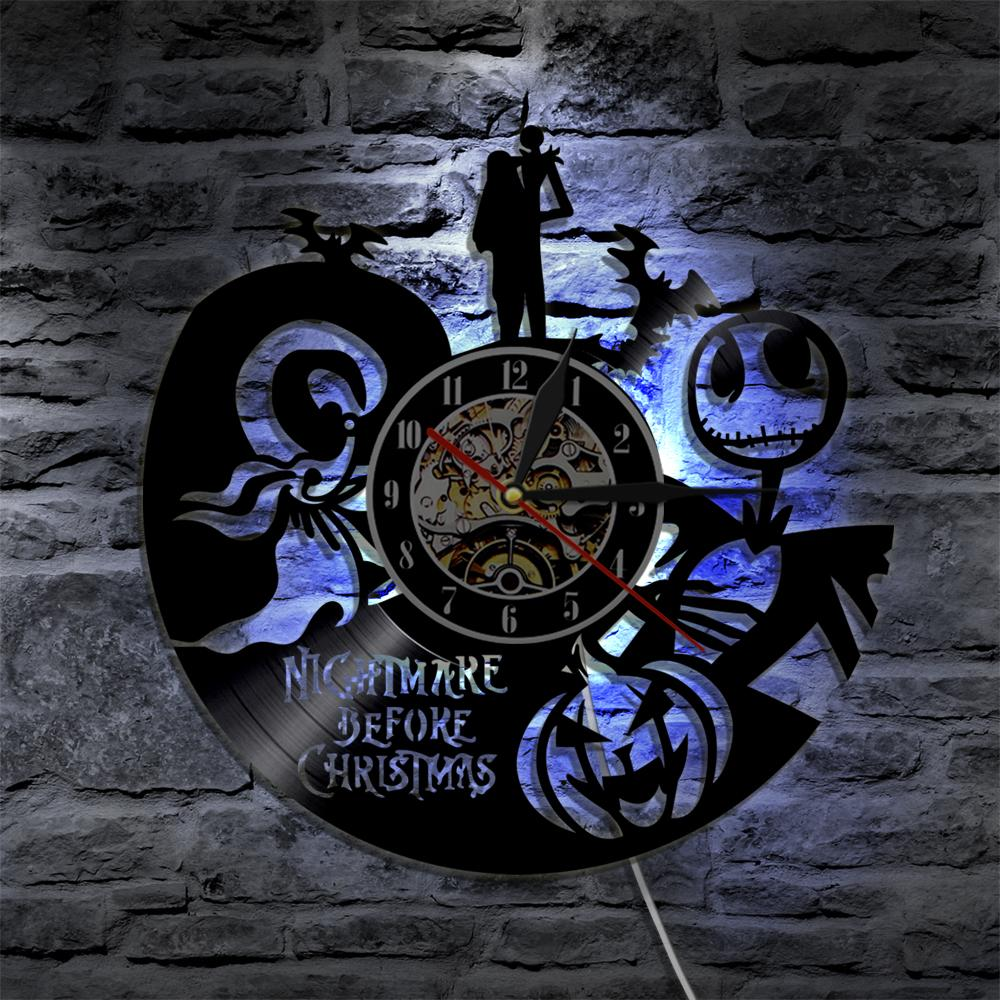 nightmare before christmas silhouette led light wall vinyl clock color change living room decor wall light remote control decorative kitchen wall clocks