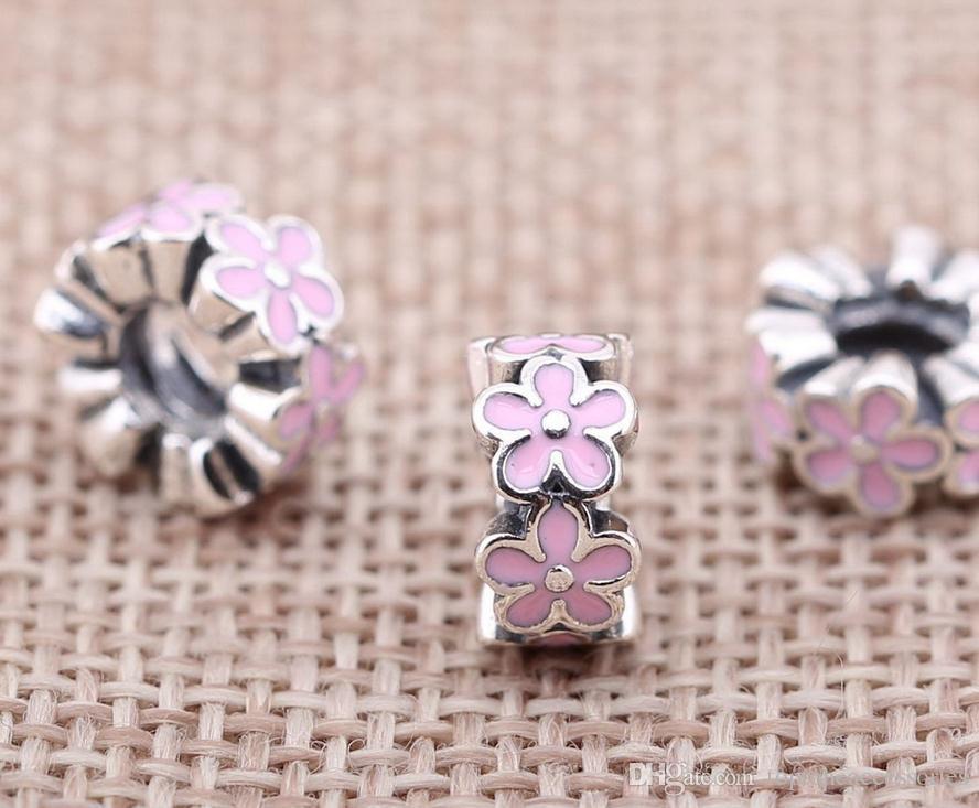 100% Sterling Silver Charms 925 Ale Rose Floral Emaux Charms Européens pour Pandora Bracelets Perles DIY Livraison Gratuite
