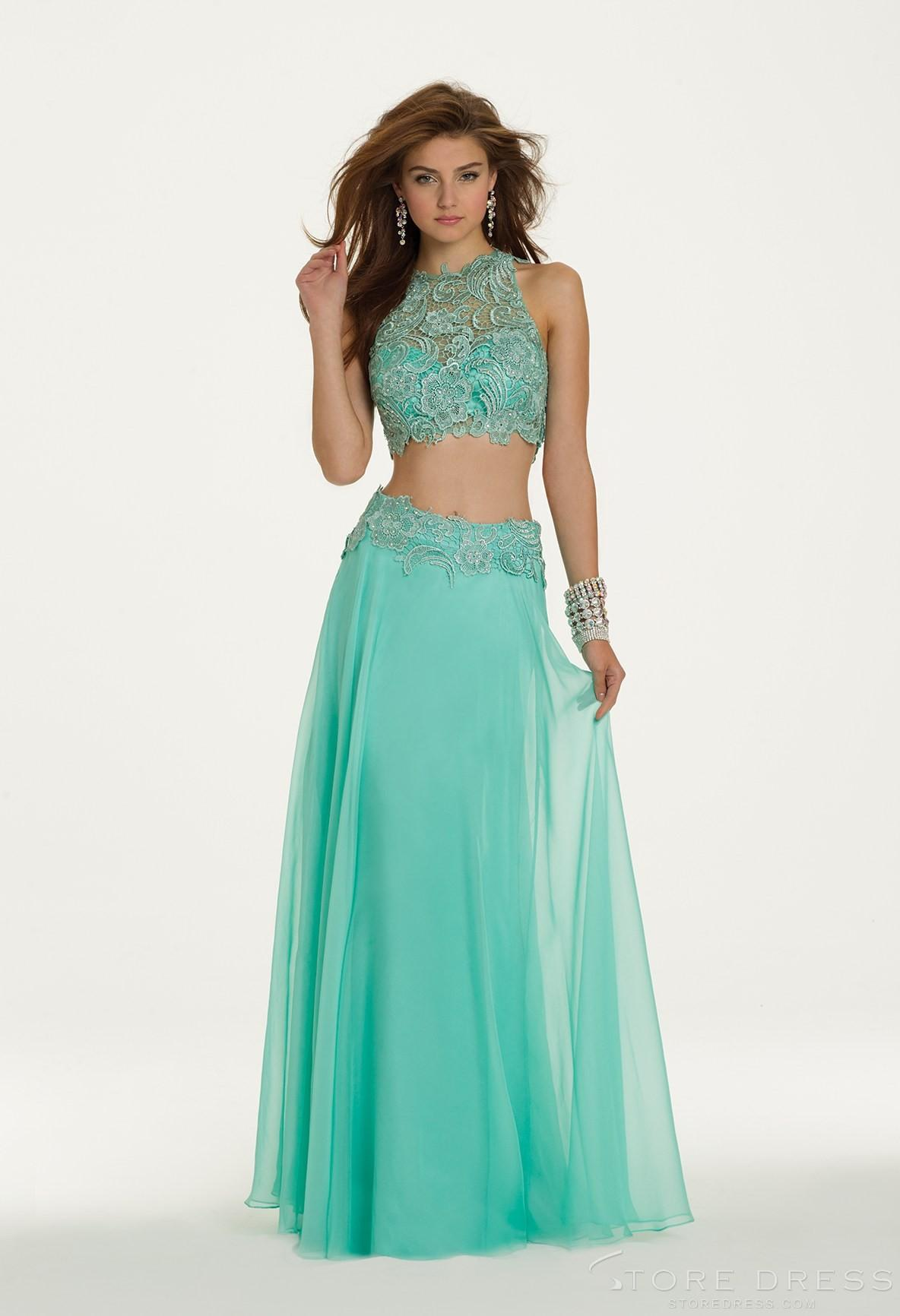High Neck Two Piece Prom Dress With Lace Applique Sequins Beads ...
