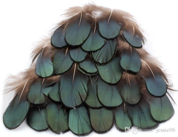 DIY craft Green copper chicken Verdigris Natural feathers PRO cleaning feathers diy jewelry bag necklace headband 4-7CM drop shipping