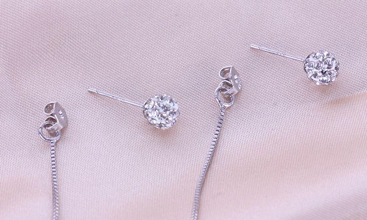 Alta calidad 925 joyería de plata esterlina doble bola rhinestone de la borla de plata cuelga los pendientes para las mujeres joyería fina