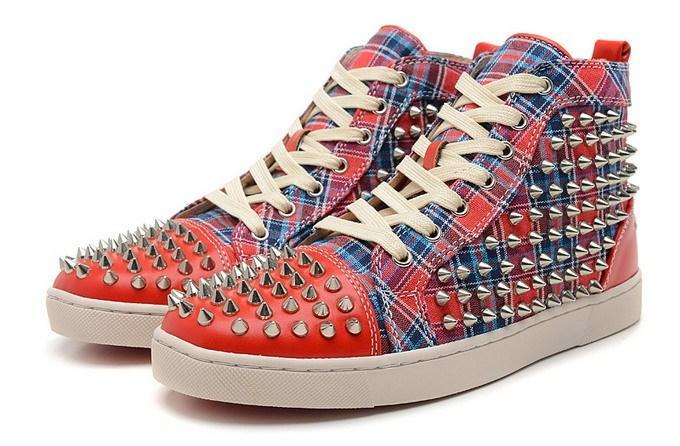 debebfd563a5 New 2015 Men And Women Spiked Toe Red Plaid Canvas Red Bottom High ...