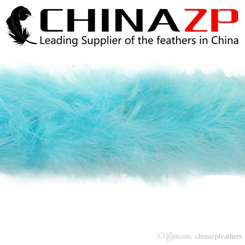 CHINAZP Crafts Factory 2yards/lot Cheap Good Quality Dyed Light Blue Marabou Feather Boas for Party Dresses