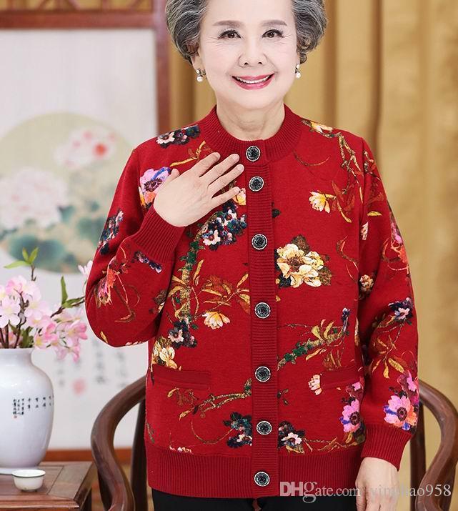 Herbst Pullover Mantel Oma Winter Pullover und Samt Kleidung