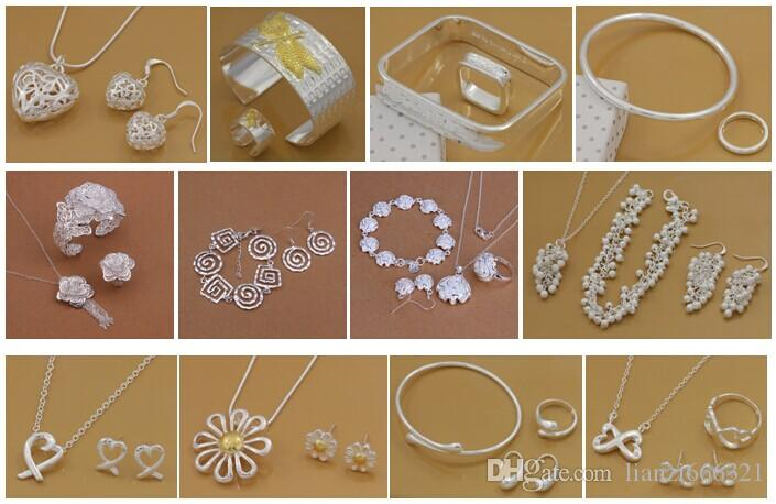 Livraison gratuite avec numéro de suivi Meilleure vente Chaude Femmes Delicate Gift Jewelry 925 Argent Plaqué Mélange Bijoux Ensemble 12 Ensemble 1045