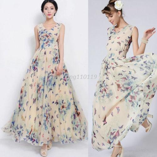 48dd4ca92822d Satın Al Yeni Varış Kadınlar Seksi Yaz Boho Uzun Elbiseler Parti Plaj Rahat  Gevşek Şifon Maxi Elbise Sıcak Satış Zarif, $22.63 | Dhgate.Com'da