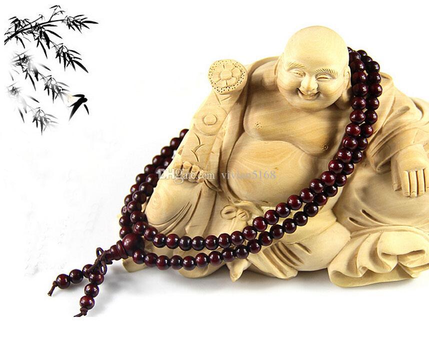 패션 108 * 6mm 불교 티베트어 장식기도 비즈 팔찌 팔찌 손목 장식 나무 부처님 비즈 여성 쥬얼리 종교 매력