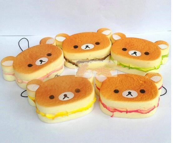 New wholesale -7cm Kawaii Rilakkuma squishy Phone charms Squishies Bun Bag Charm Cartoon Rare Squishy Bread/Cell Phone