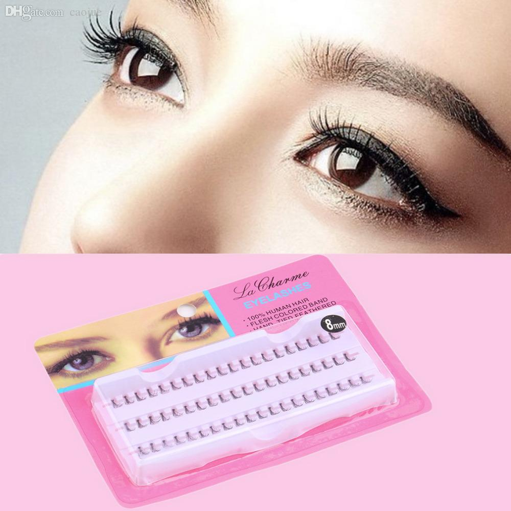 Wholesale-2015 New 60pcs 10mm 12mm Individual Black False Eyelash Cluster Lashes Extension Tool