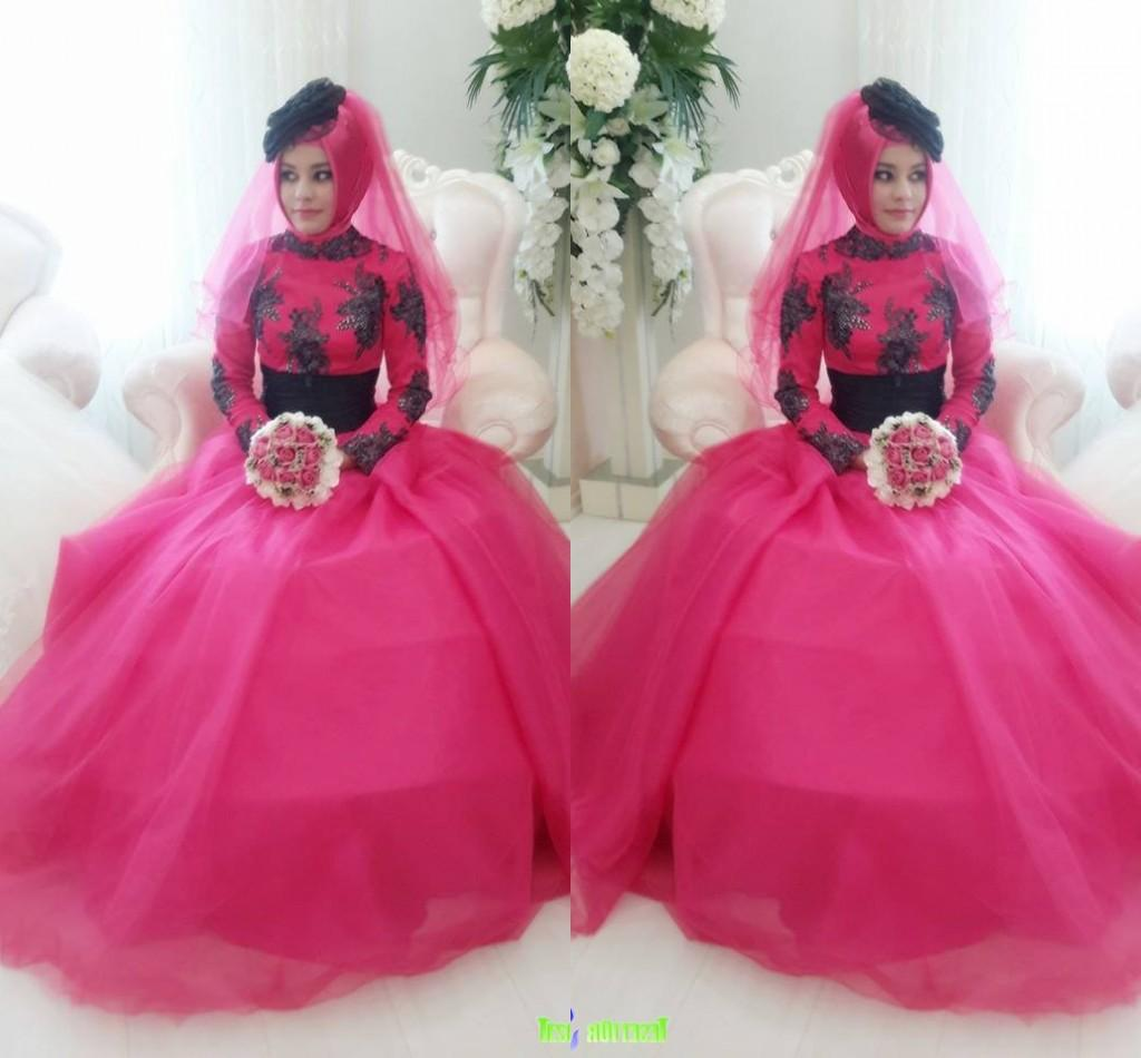 Discount 2015 Spring Black And Fuschia A Line High Neck Lace Wedding ...