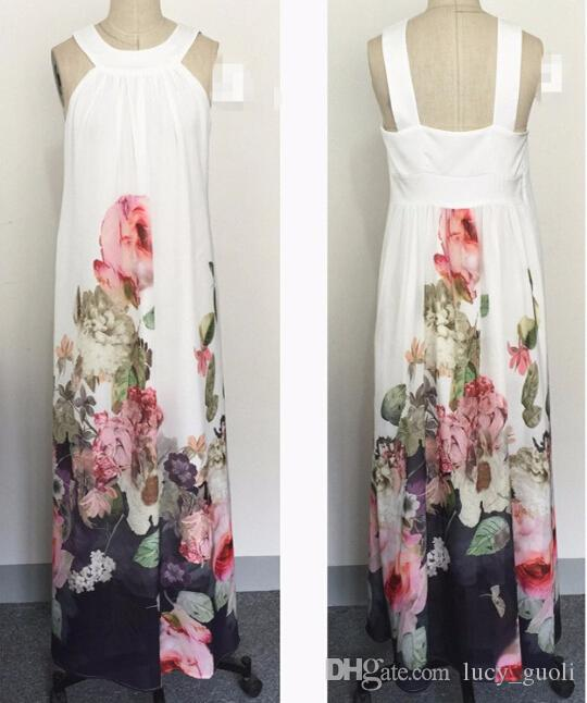 European Women Size Summer Women Casual Fit and Flare Floral Sleeveless Chiffon Long Dress Vestidos Women Beach Bohemia Elegant Long Dress