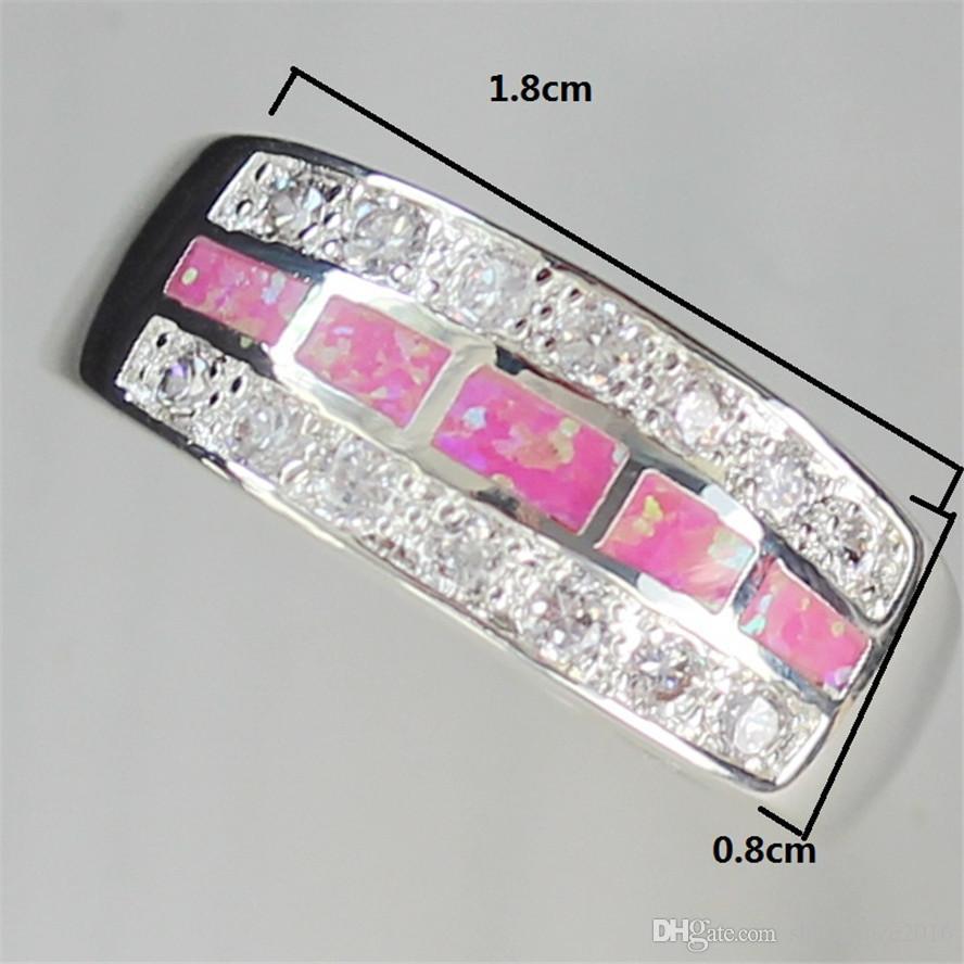 귀여운 새 패턴 고귀한 관대 추천 MN602 sz # 6 7 8 9 핑크 오팔 및 백색 입방 지르코니아 도매 구리 로듐 도금 승진 반지