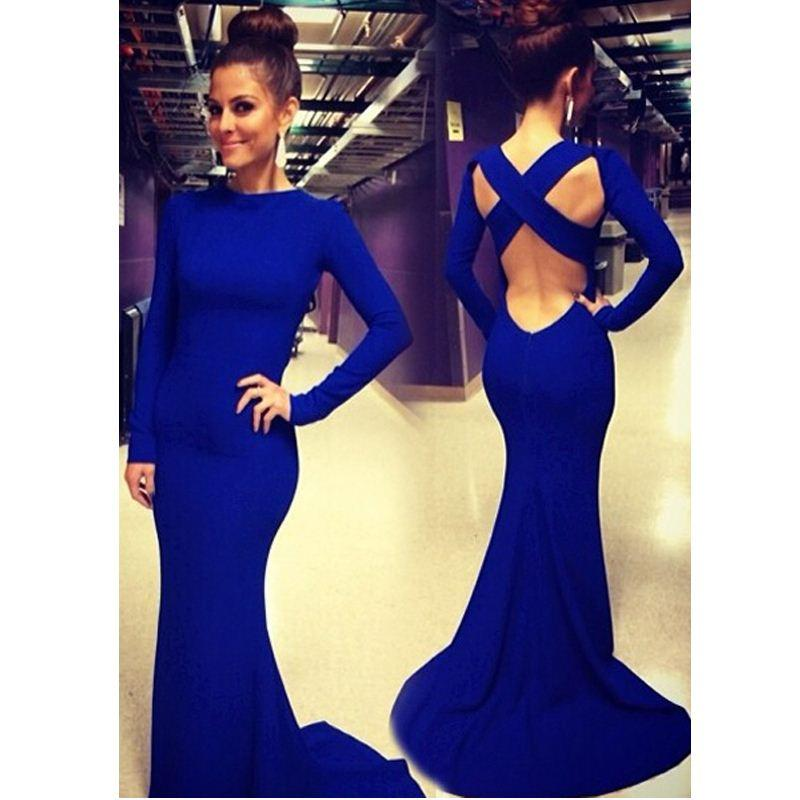 Fg1509 Sexy Women Long Sleeve Ball Dress Bodycon Backless Prom Party ...