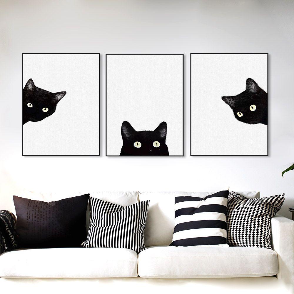 Compre 3 Pieza Gatos Cats Cabeza Moderna Animal Lindo Lienzo A4 ...