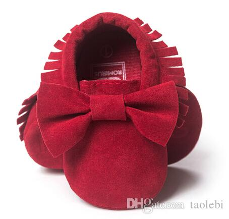 NEW Styles Baby Soft Tassel Moccasins Girls Bow Moccs Baby Booties Shoes Moccasin Red bow design baby girl shoes Black colors
