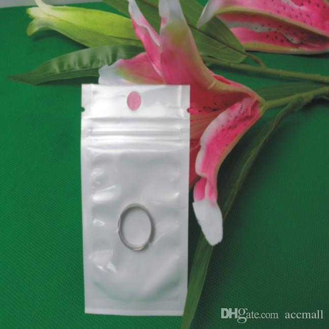 6cm*10cm White / Clear OPP Pearl Self Seal Zipper Ziplock Plastic Retail Packing Package Bag for Flash Disk USB Cable Key MP3 Dust Plug Food