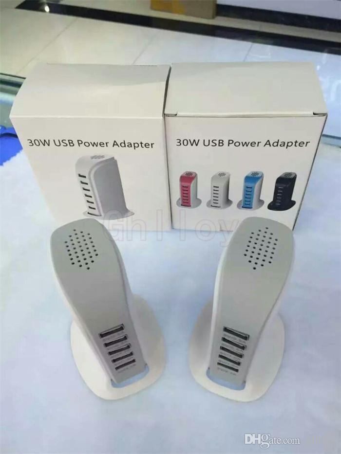 30W 6 USB Ports Portable Desktop EU/US/UK Plug Charger AC Power Adapter Socket Outlet With Cable