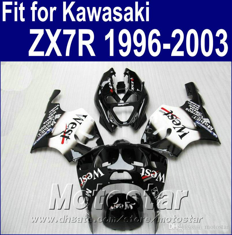 Plastic bodywork set for Kawasaki Ninja ZX7R fairings 1996 - 2003 ZX 7R 96-02 03 white black West fairing body kit AQ6