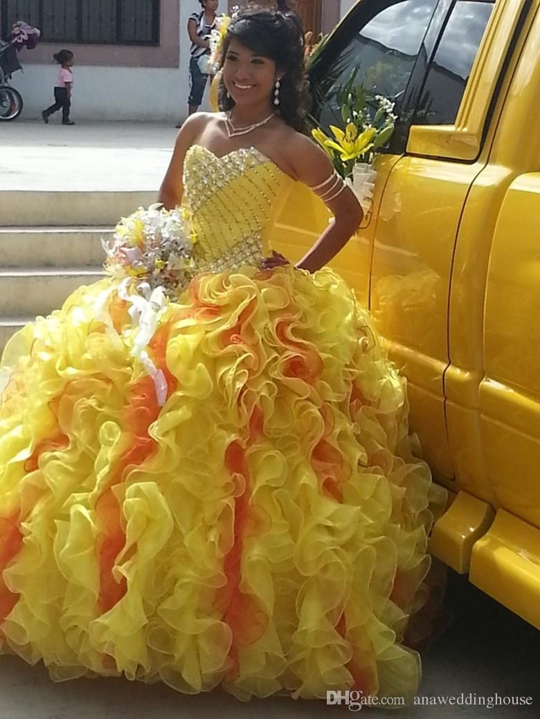 Vestidos де Novia Quinceanera платья сладкий 16 платье милая обратно зашнуровать бальное платье желтый органзы Пром платья 2015 на заказ