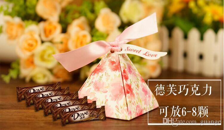 2016 European style romantic red green Pearl paper triangle pyramid Wedding box Candy Box gift boxs wedding baby birthday favour boxes TZ181
