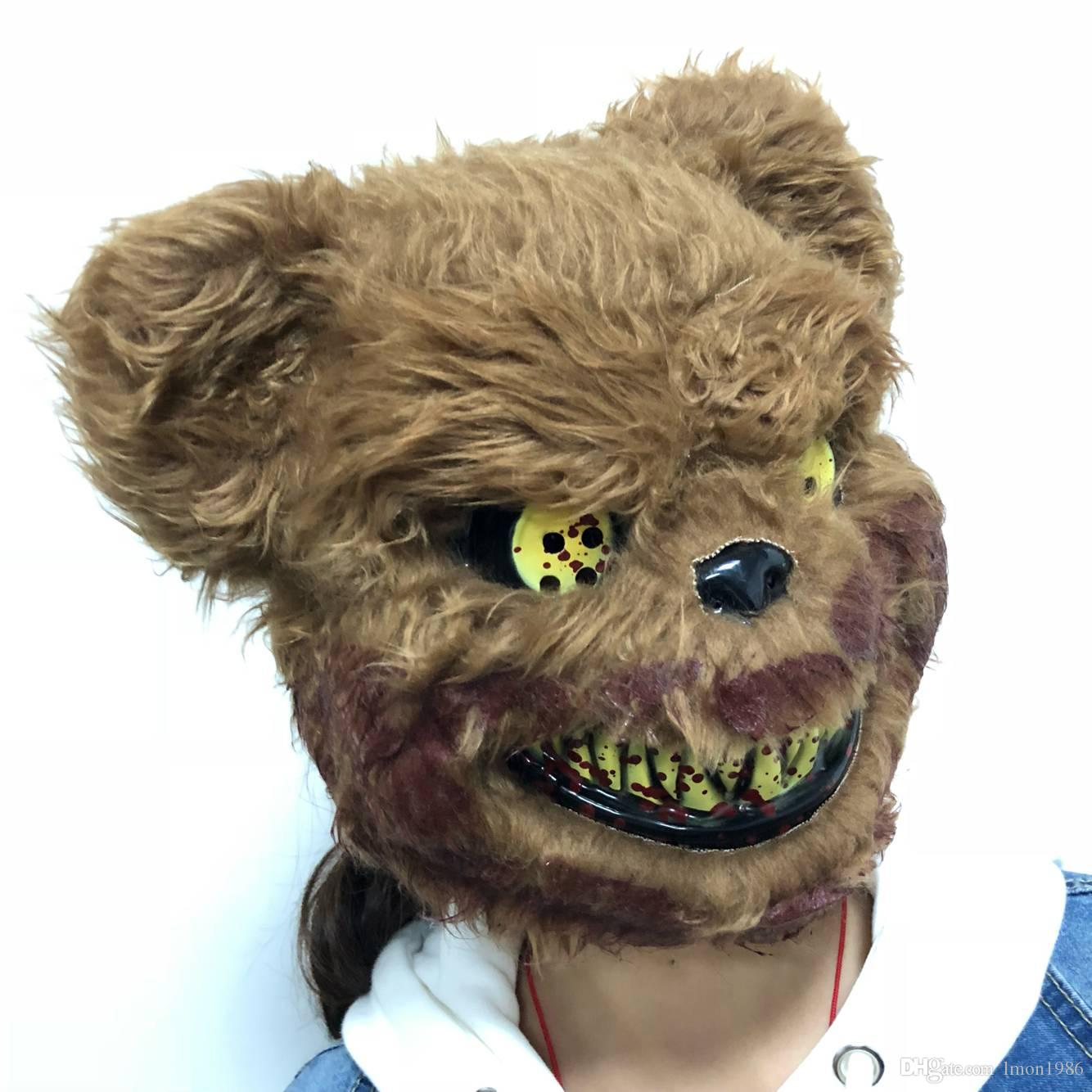 Halloween Party Scary Killer Teddy Bear Mask Adult Evil Psycho Halloween Costume Fancy Dress Plastic Mask