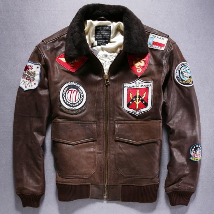 Best Fall Hot Sale Avirex Air Force Flight Jacket Sheepskin Men'S ...