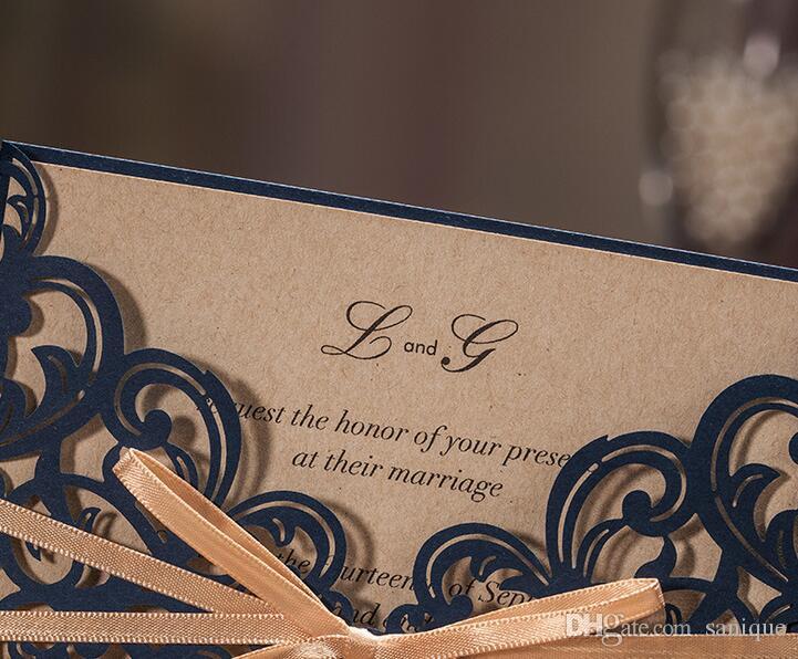 2018 invitations de mariage découpées par laser de luxe personnalisées impression cartes d'invitation de creuse florale de marine